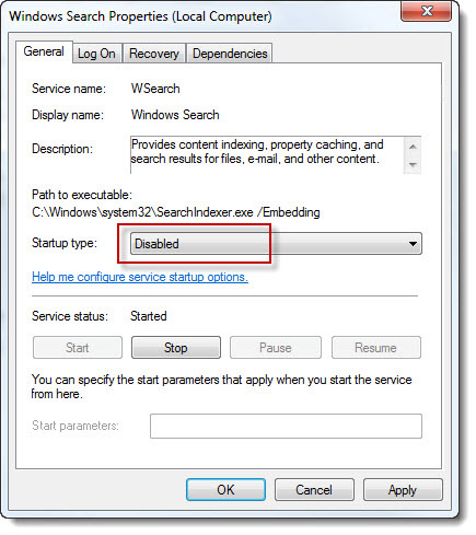 desactivar windows search indexing service