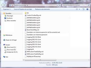 Un ejemplo de una lista de ficheros borrados que se pueden recuperar.